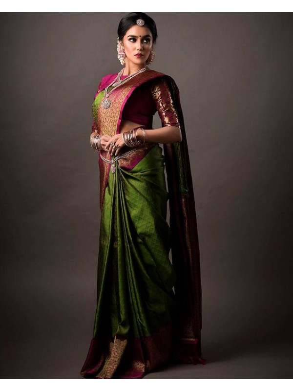 Heavy Green Color Designer Soft Silk Saree VMRSC4023