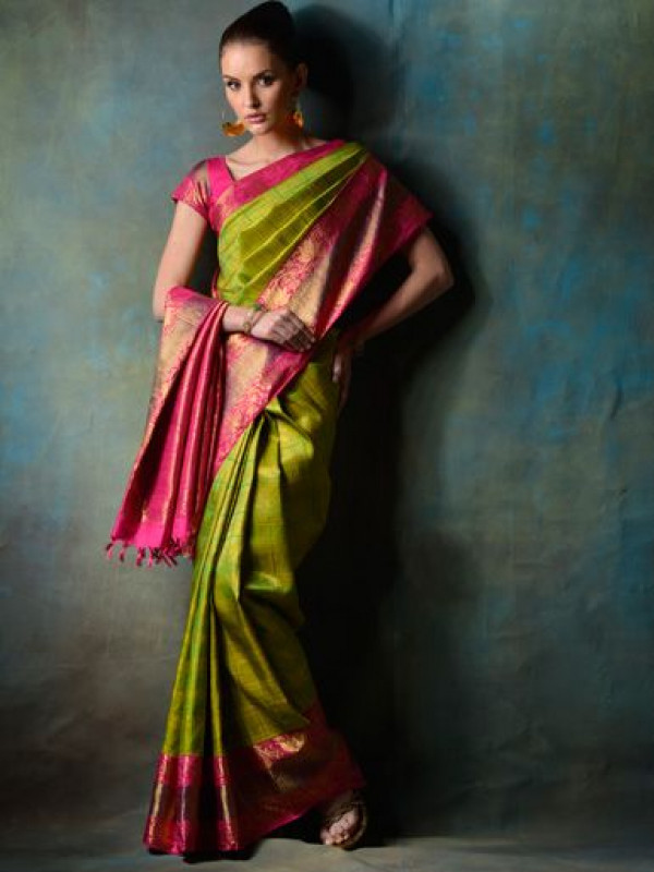 Divine Green And Pink Color Designer Soft Silk Saree VMRSC4025