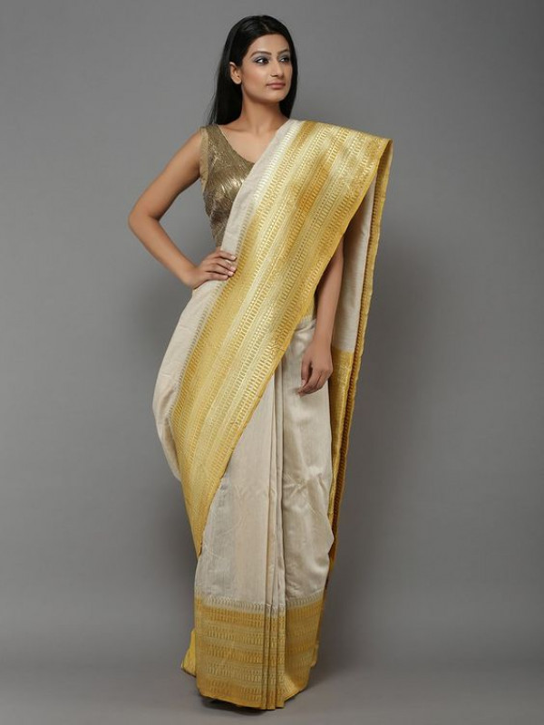 Latest White And Golden Color Designer Soft Silk Saree SC4030