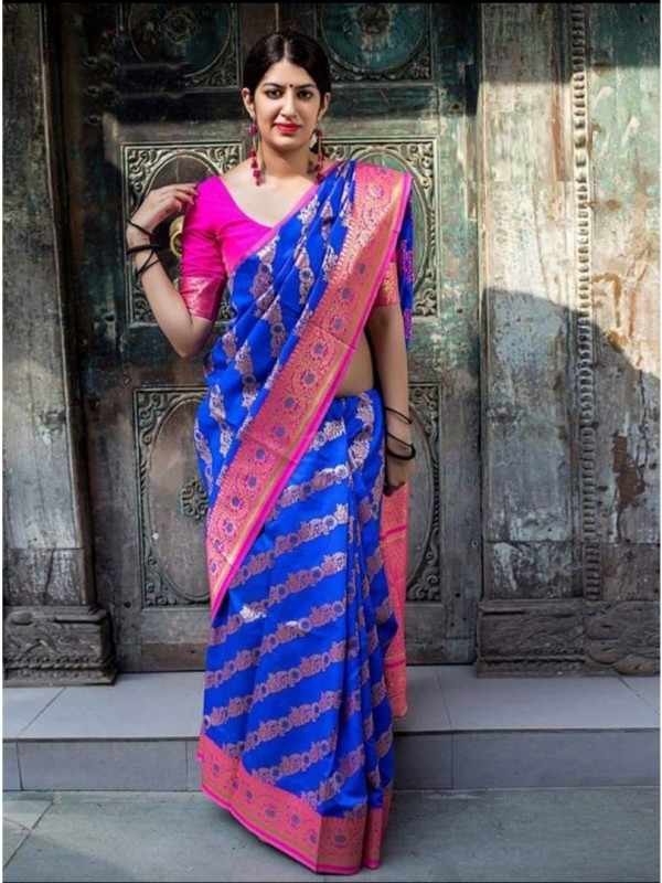 Flattering Blue And Pink Color Soft Silk Saree SC7001