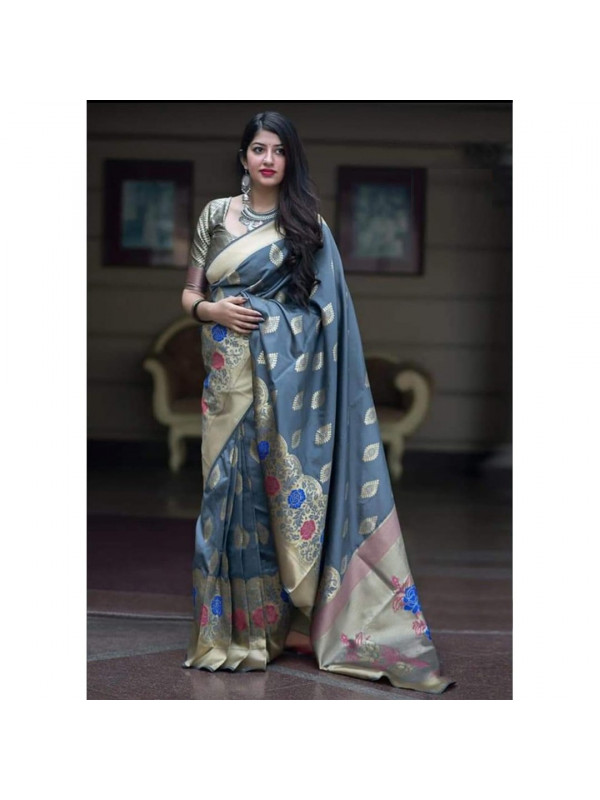 Pretty Grey Color Soft Silk Saree SC7008