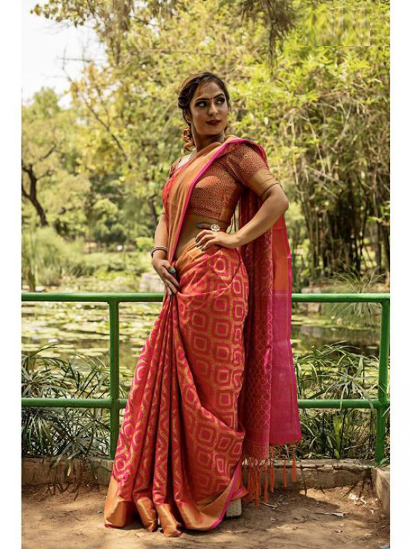 Entrancing Pink And Orange Color Soft Silk Saree  SC7015