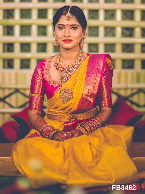 Exquisite Yellow and Pink color Soft Silk Saree FN2614