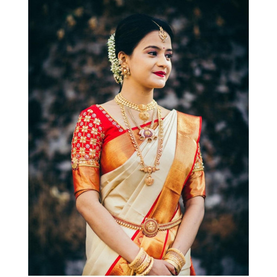 Graceful Cream And Red Color Soft Silk Saree SC-9131