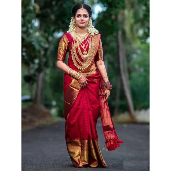 Flawless Red And Golden Color Soft Silk Saree SC-9240