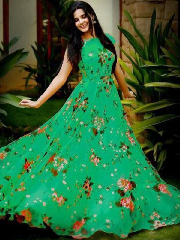 Fabulous Green Color Floral Printed Gown