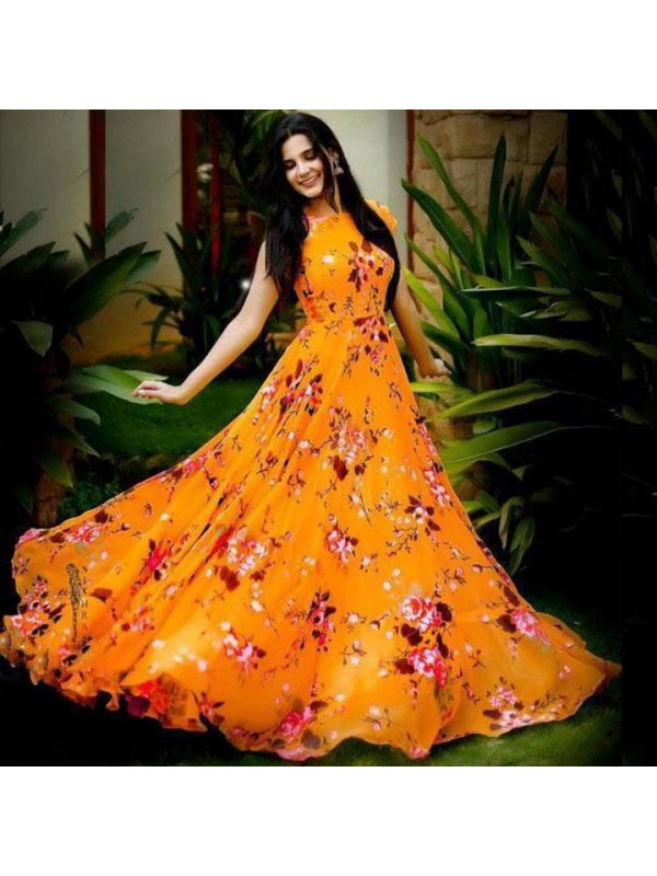 Fabulous Orange Color Floral Printed Gown