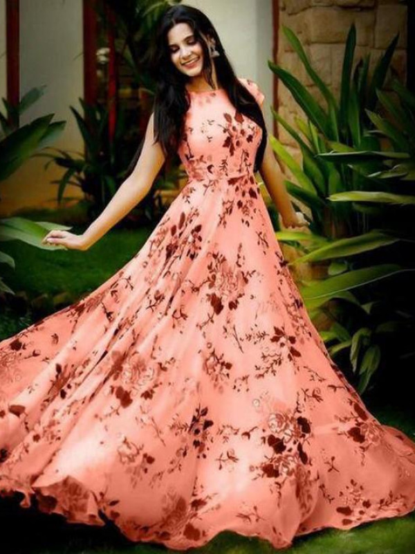 Fabulous Peach Color Floral Printed Gown