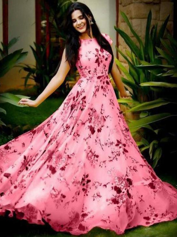 Fabulous Pink Color Floral Printed Gown