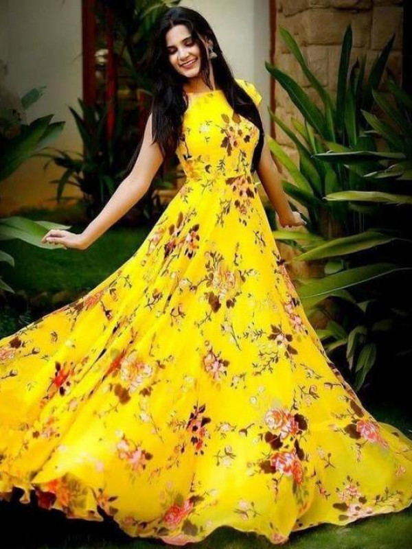 Fabulous Yellow Color Floral Printed Gown
