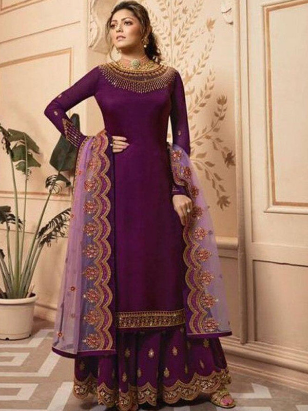 Appealing Wine Color Heavy Embroidery Work Salwar Suit