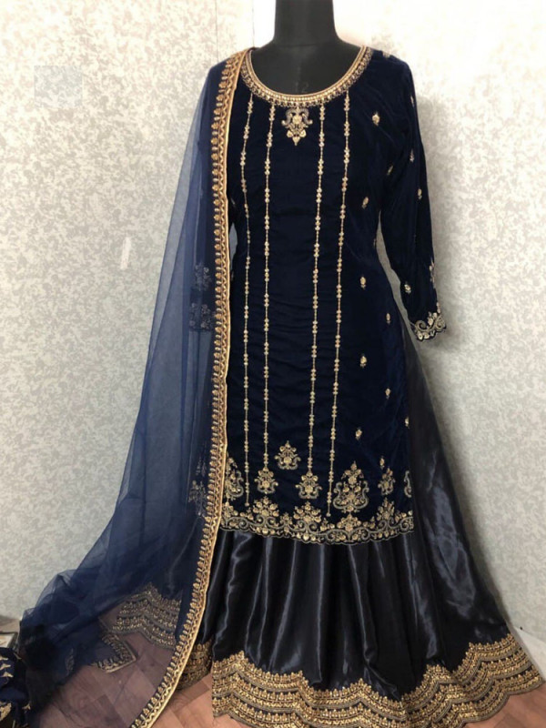 Brilliant Dark Blue Color Heavy Embroidery Work Salwar Suit