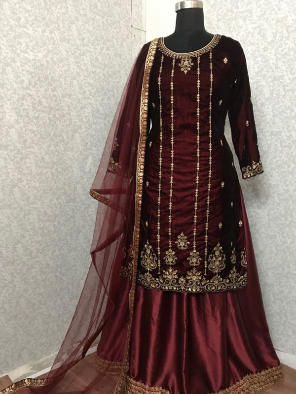 Delightful Maroon Color Heavy Embroidery Work Salwar Suit