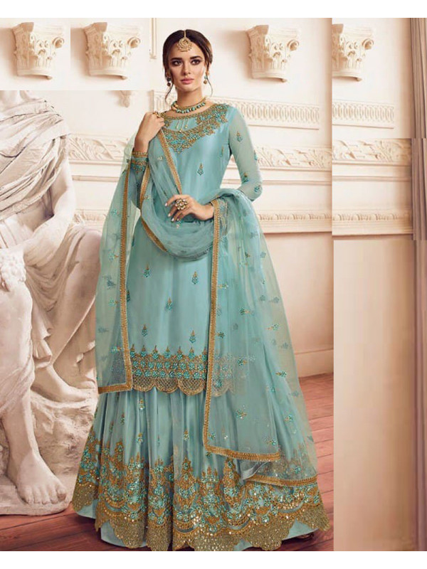 Awesome Turkish Blue Color Heavy Embroidery Work Salwar Suit