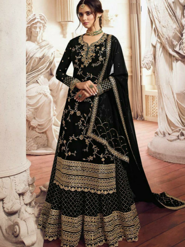 Engrossing Black Color Heavy Embroidery Work Salwar Suit
