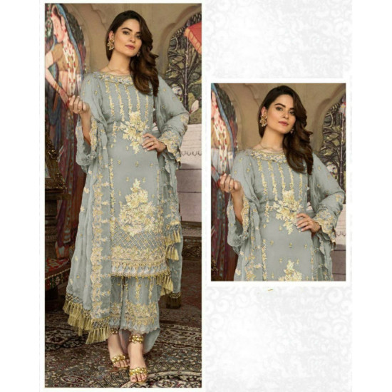 Arresting Pewter Grey Color Heavy Embroidery Work Salwar Suit