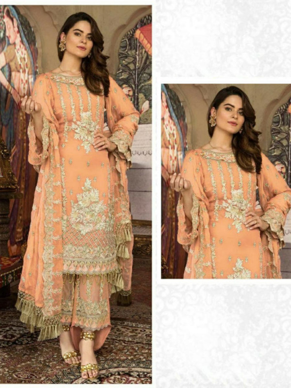 Contemporary Light Orange Color Heavy Embroidery Work Salwar Suit