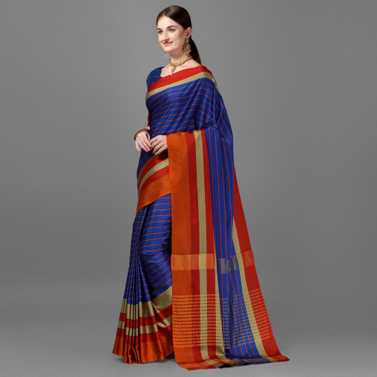 Blue Color Lining Zari Border Cotton Silk Saree