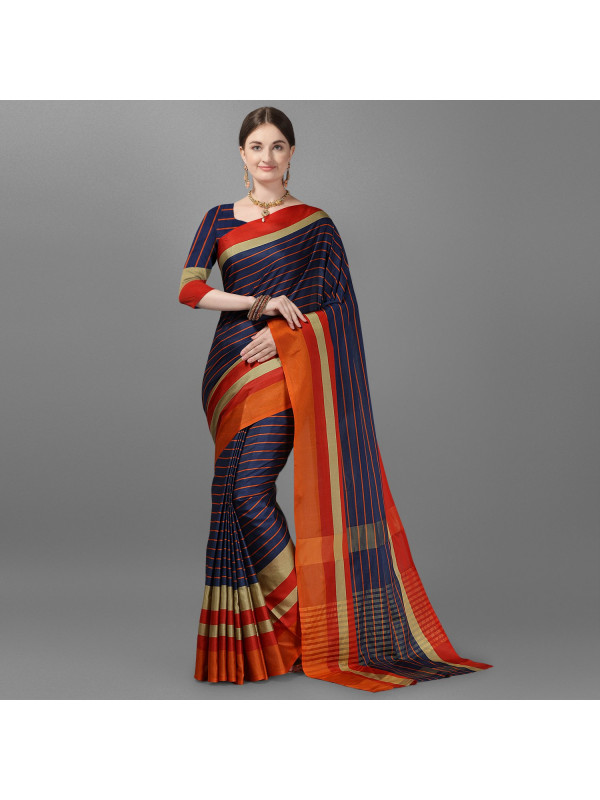 Navy Blue Color Lining Zari Border Cotton Silk Saree