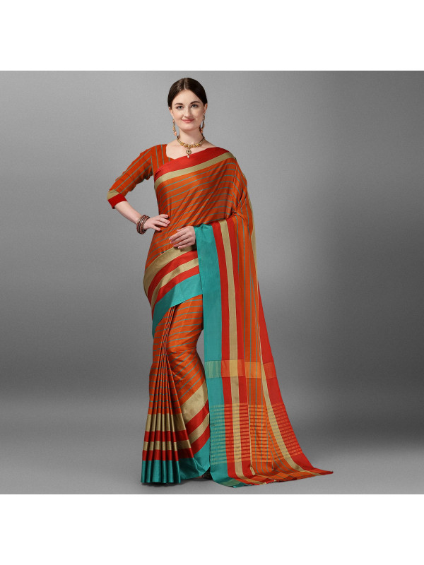 Orange Color Lining Zari Border Cotton Silk Saree