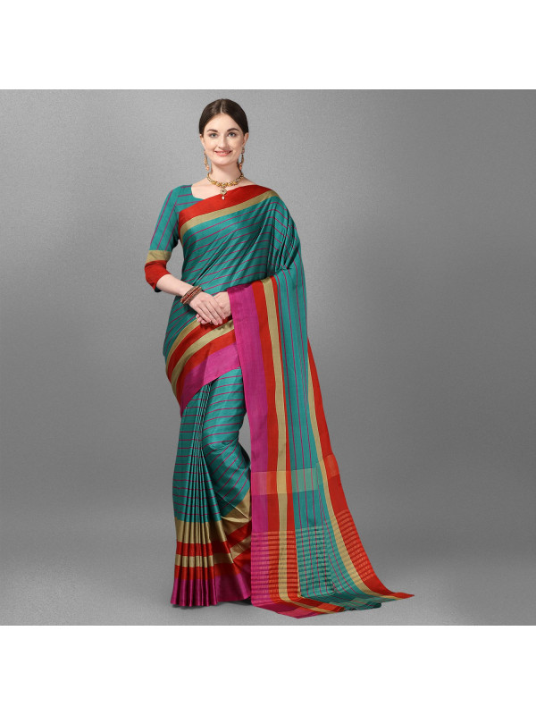 Rama Color Lining Zari Border Cotton Silk Saree