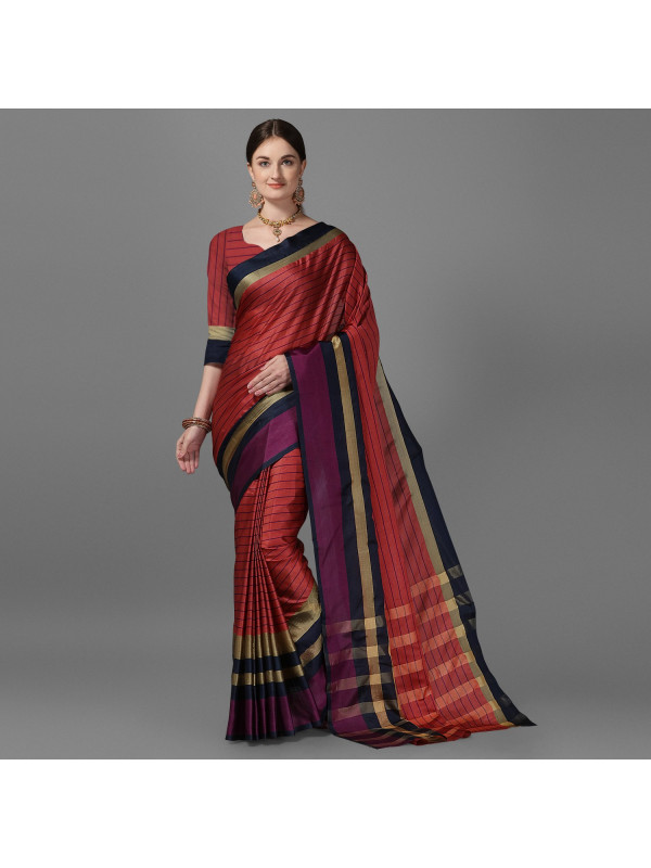 Red Color Lining Zari Border Cotton Silk Saree