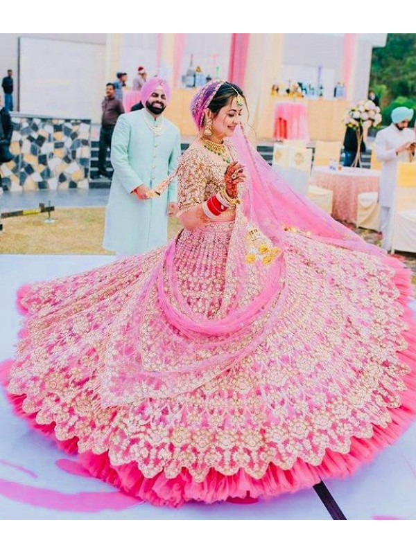 Exclusive Pink Fancy Organza Silk Ruffle Work Lehenga Choli With Dupatta