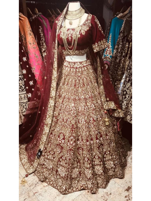 Delightful Maroon Color Bridal Designer Lahenga Choli With Dupatta