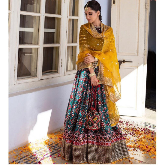 Beauteous Multi color Patola in Digital Print With Embroidry Work Lehenga Choli With Dupatta