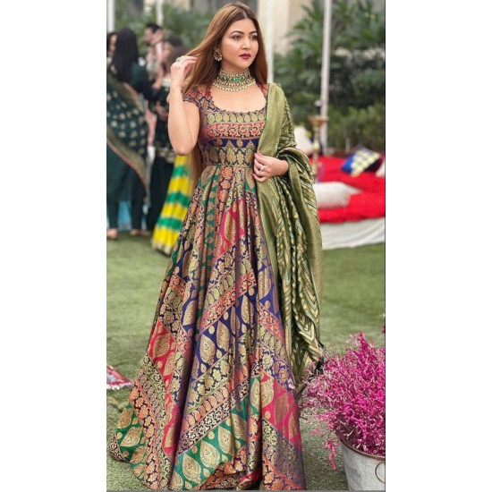 Captivating Multi Color Designer Party Wear Look Gown With Dupatta