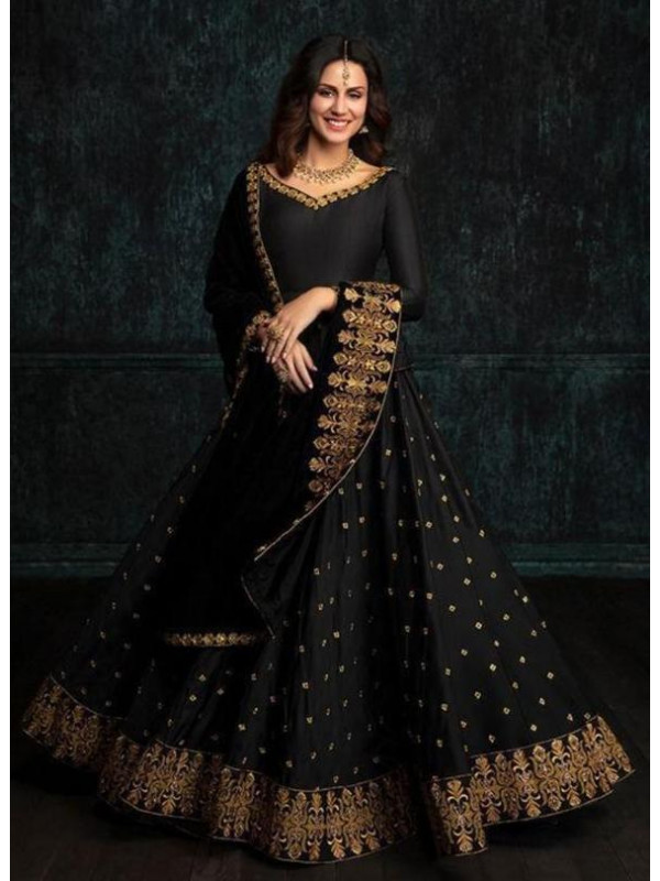 Admirable Black Color Embroidered Lace work Designer Lehenga Choli