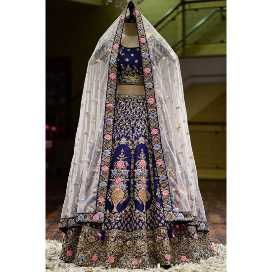 Prettiness Bule Color Bridal Look Designer Lehenga Choli