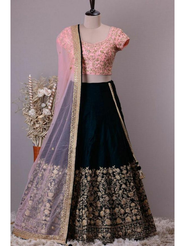 Idealistic Black Color Tafeta Silk Designer Lehenga Choli