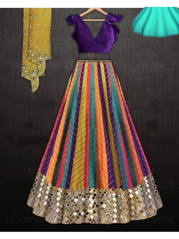 Magnetic Multi Color Featuring Embroidery Malberi Silk Lehenga Choli
