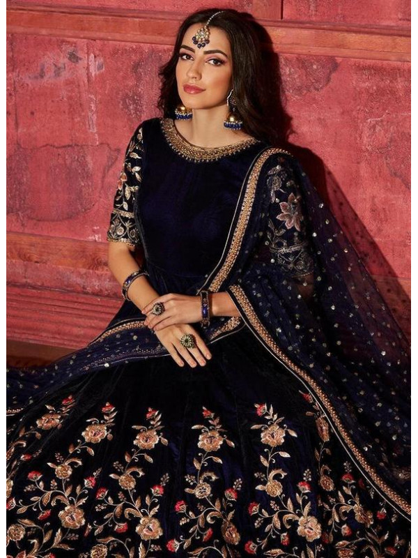 Adorning Black Color Embroidered Designer Lehenga Choli