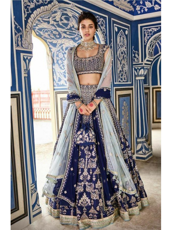 Beautiful Navy Blue Color Designer Lehenga Choli