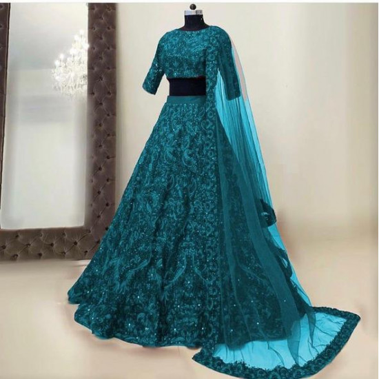Charismatic Rama Blue Color Bridal Designer Lehenga Choli