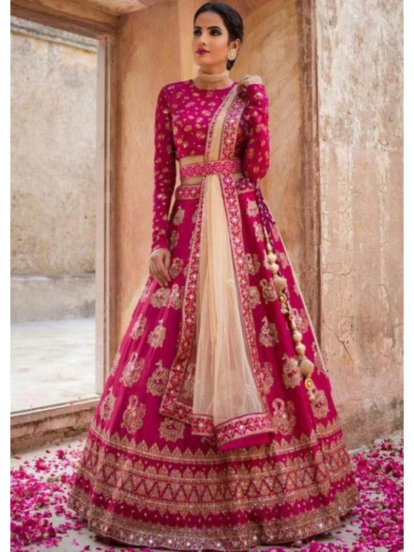 Dashing Pink Color Dulhan Lehenga Choli