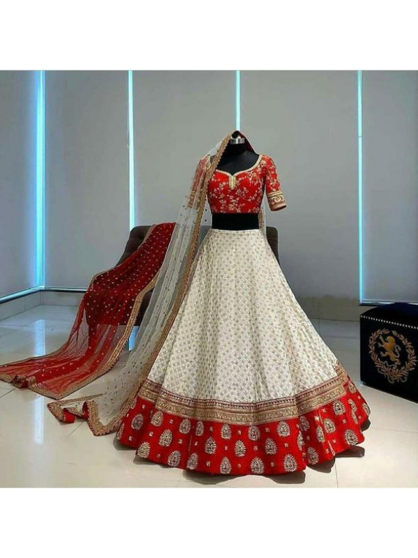 Recent White And Red Color New Bridal Designer Lehenga Choli