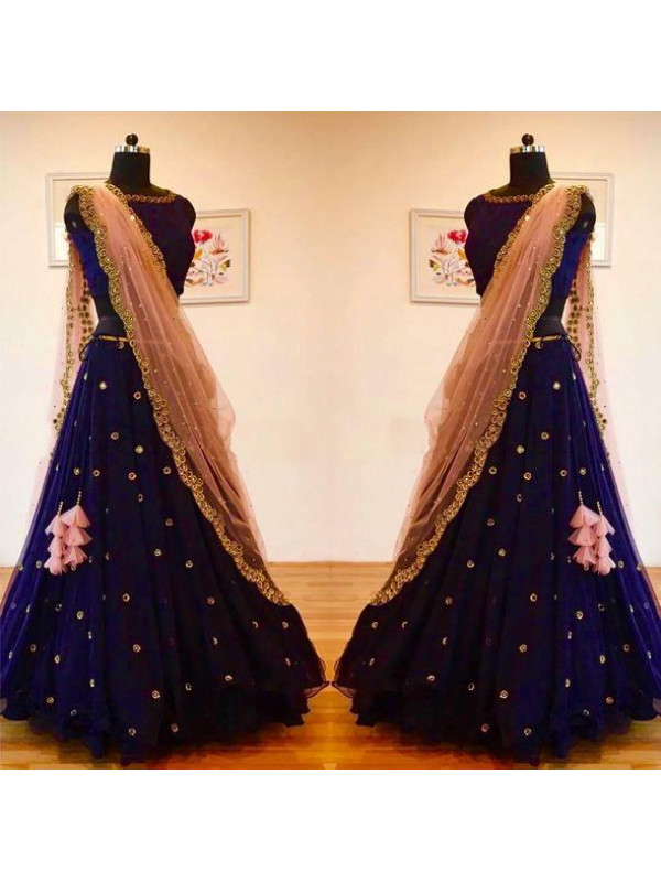 Excellent Dark Blue Color New Embroidery Buti Work Lehenga Choli