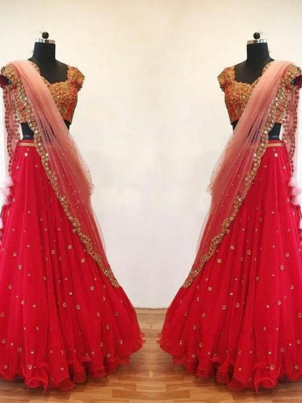 Glorious Red Color Fuax Georegtte Embrodered Lehenga