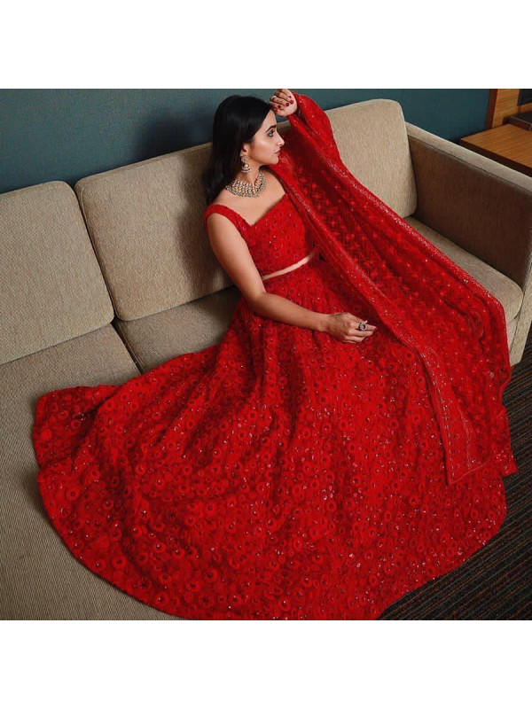 Graceful Rose Red Color Georgette With Heavy Embroidery Sequence Work Wedding Lehenga Choli