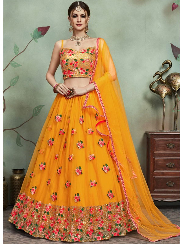 Marvelous Mustard Color Designer Embroidered Lehenga Choli